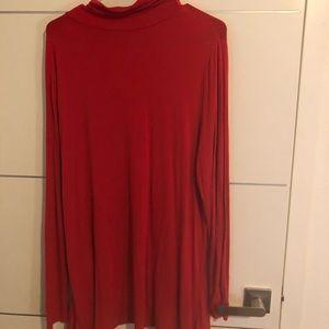 Joseph A asymmetric hem long sleeve red tunic XL